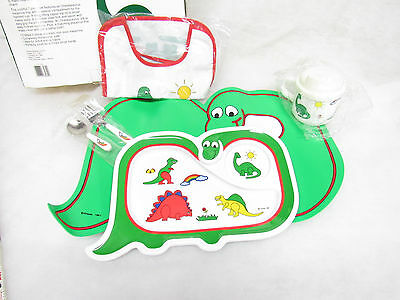Vtg 1987 Oneidasaurus Dinosaur Toddler Meal Time Set Placemat/Plate/Utensils/Bib