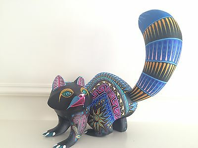 "Raccoon  ALEBRIJE Oaxaca wood carving 13 X 13"" Tall"