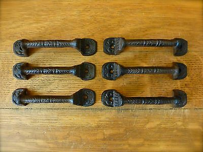 "6 Brown Basket Weave 4.25"" Antique-Style Cast Iron Drawer Cabinet Pull Handle"