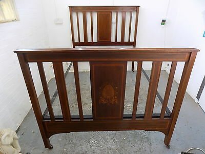 antique,double bed,bed,inlaid,bedroom,castors,antique bed,mahogany,edwardian