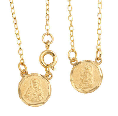 Gold Plated Mini Round Scapular Necklace Lady of Mt. Carmel Jesus Heart Medals