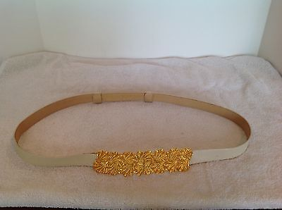 """Auth ALEXIS KIRK 1981 Vtg Gold Pated Amazing 7.25"""" Buckle Tan Leather Cinch Belt"""