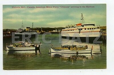 """Postcard--Victoria B.C., Canada-American Motor Ferry """"Chinook""""-Harbour,a25531"""