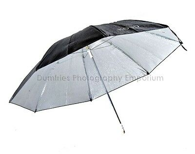 "Kood 24"" High Reflection Silver Studio Umbrella with Black exterior/  8mm shaft"