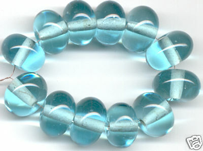 12pcs Lampwork Glass Beads Handmade Aqua Blue Loose Rondelle Spacer Craft 8x12mm