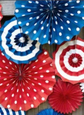 Set 6 PATRIOTIC honeycomb paper fans, Memorial Day, 4th of July decorations