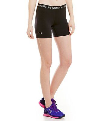 "Under Armour Women's Heatgear Compression 5"" Middy Shorts Black # 1271779-Nwt"