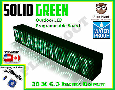"GREEN - 38""X6.3"" LED PROGRAMMABLE SCROLLING SIGN - OUTDOOR (Totally Water Proof)"