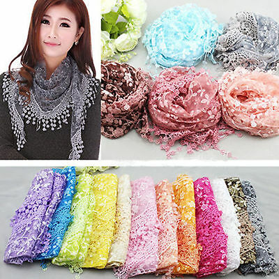 High Women Lace Hollow Shawl Neck Soft Wrap Tassel Floral Print Triangle Scarf
