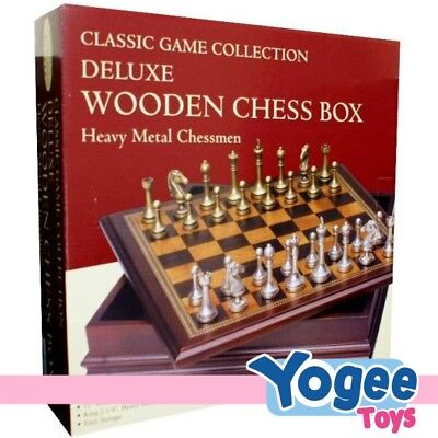 Deluxe Wooden Chess Box Classic Game with Heavy Metal Chessman
