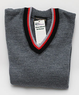 Winter Weight Grey V Neck Jumpers 80% Wool Black Red Silver on V