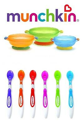 Munchkin Stay Put Bowls Suction Baby Toddler Feeding & Munchkin Infant Spoons