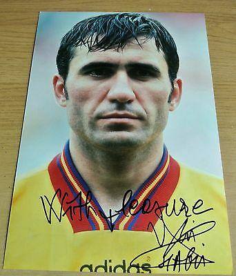 Gheorghe Hagi Signed Autograph 12X8 Photo Galatasaray Romania Football & COA