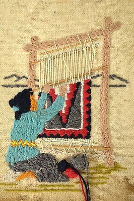 Woman Weaving Loom Embroidered Folk Art Tapestry Textile Wall Hanging Vintage