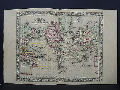 Antique Map, Mitchell, 1865, Double Page, The World M8#23