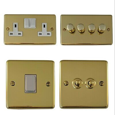 Polished Brass CBW Light Switches, Plug Sockets, Dimmers, Cooker, Fuse, TV, BT