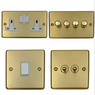Brushed Satin Brass CSBW Light Switches, Plug Sockets, Dimmers, Cooker, Fuse, TV