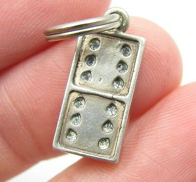 Vintage Sterling Silver Domino Dominos Game Playing Bracelet Charm