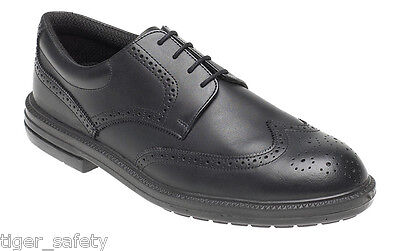 Toesavers 912 S1P SRA Black Leather Oxford Brogue Steel Toe Safety Work Shoes