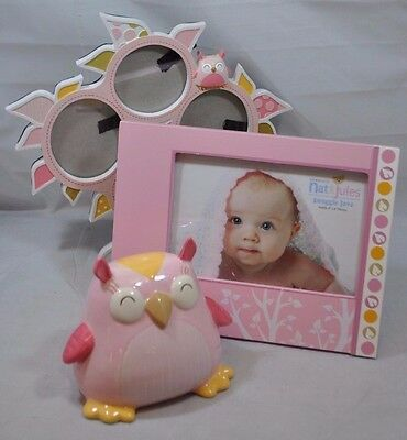 NEW Nat & Jules Pink Olla Owl Baby Nursery Decor Collage Frame Picture Bank 3PK