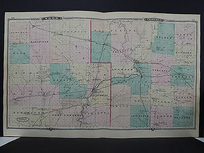 Wisconsin, Map 1881, Double Page, Wood & Portage Counties