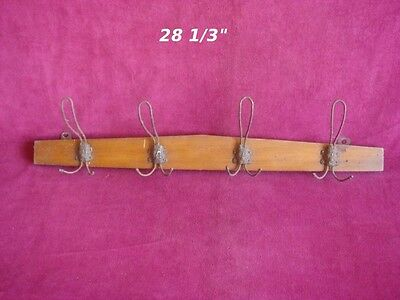 "Antique Hat Coat Rack Hanger Primitive with 4 Fixed Wire Hooks 28 1/3"" Wooden"