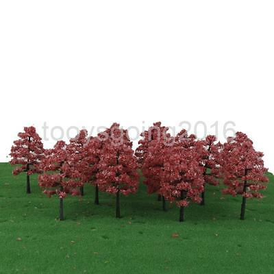 20pcs Model Trees 1:100 HO OO Scale Buildings Park Diorama Scenery Light Red