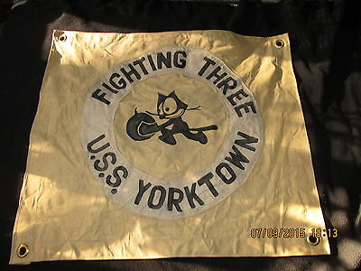 Wwii Usn Uss Yorktown Cv-5 Vf-3 Felix The Cat Squadron Ready Room   Flag