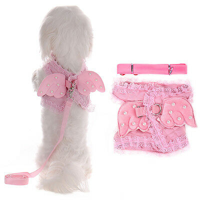 Small Cat Puppy Pet Dog Harness Leash Lead Walk Out Hand Strap Vest Collar Pink