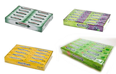 20 Packs Of 5 Sticks Wrigley's Juicy Fruit # Double Mint  Flavours Chewing Gum