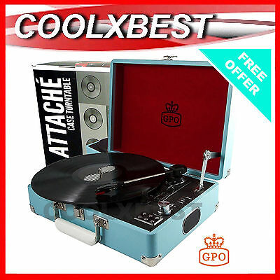 New Gpo Attache Usb Turntable Lp Vinyl Record Player Sky Blue 3 Speed + Bonus