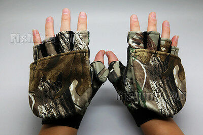 Pair Convertible fingerless RealTree Hunting Gloves Camo Camping Fishing Gloves