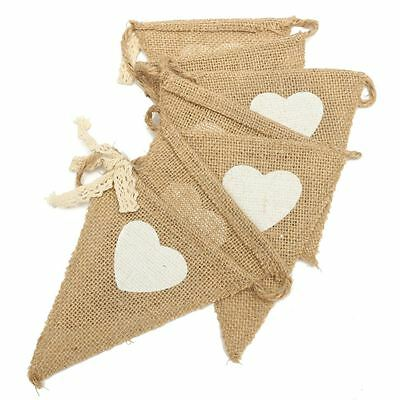 Hessian Burlap Bunting Banner 1.75M Heart and Lace Bows Vintage Wedding Decor