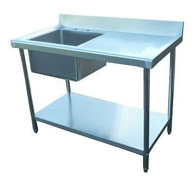 New Commercial Catering Kitchen Stainless Steel Sink 120cm Single Bowl 1.2 Metre