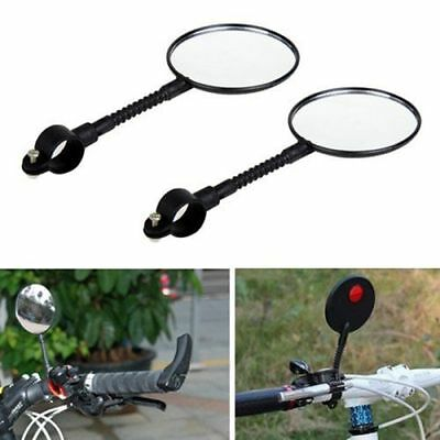 2X Bike Bicycle Cycling Cycle Handlebar Glass Flexible Rear View Rearview Mirror