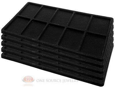 5 Black Tray Liners 10 Compartment Insert Drawer Organizer Jewelry Displays