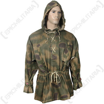German Army TAN AND WATER CAMOUFLAGE HBT SNIPER SMOCK - WW2 Sumpftarn Hooded