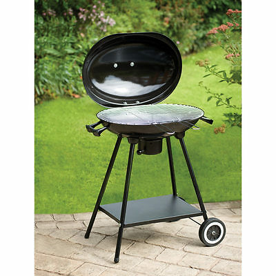 Oval Kettle Portable BBQ With Chrome Plated Grill BLACK
