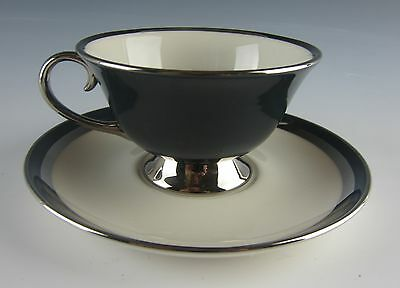 Gorham/Flintridge China CONTESSA BLACK Cup & Saucer Set(s) EXCELLENT