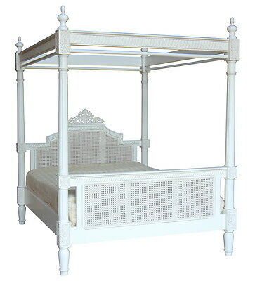 6' Super King Charlotte Four Poster Bed Solid Mahogany Antique White B097P