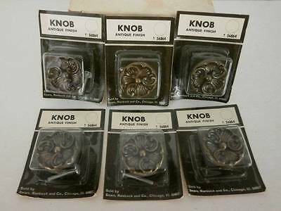 NOS Metal Cabinet Knobs Antique Brass Finish NIP Lot of 6 Sears USA