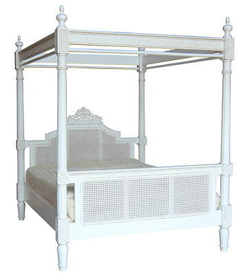 5' King Size Charlotte Four Poster Bed Solid Mahogany Antique White B097P
