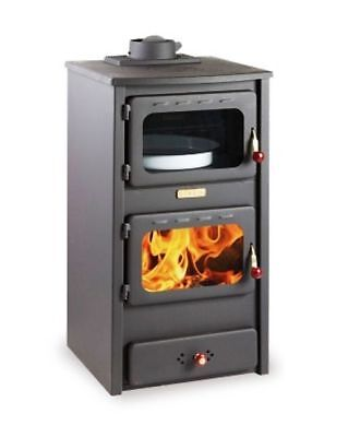 Pretty Woodburning Stove Fireplace Log Burner Solid Fuel with Oven Cast Iron Top