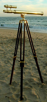 Brass Double Barrel Griffith Astro Telescope With Tripod Stand Nautical-Pirate