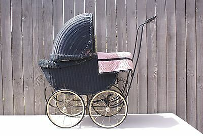Antique 1900's Black Wood & Blue Wicker Baby Buggy Doll Carriage - Beautiful