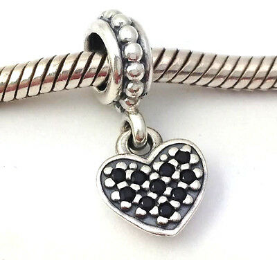 authentic pandora sterling silver pave heart black crystal charm 791024nck new authentic black crystal