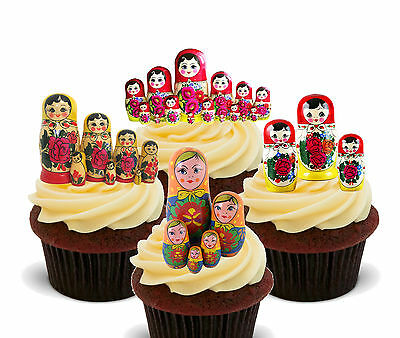 Matryoshka Russian Dolls Edible Cupcake Toppers, Stand-up Decorations Russia