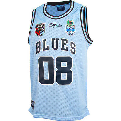 NSW Blues State of Origin 2016 Kids Youth Supporter Basketball Singlet, 8Y-14Y