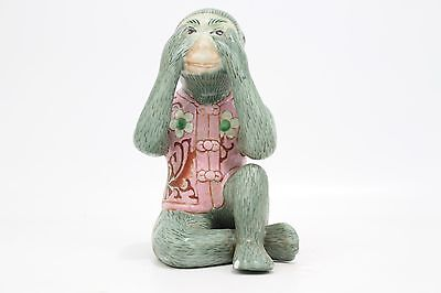 """Cute Porcelain Monkey in Suit See No Evil Figurine 8"""" Small Chip"""