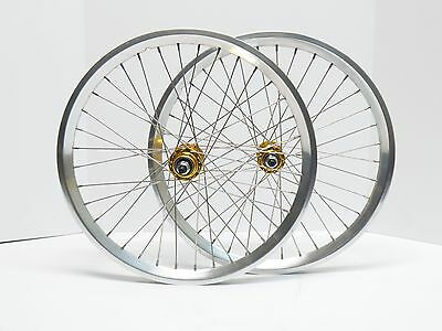 """NOS Vintage BMX 20"""" Sumo Semi Polished Rims Laced To New Gold Anodized Hubs"""